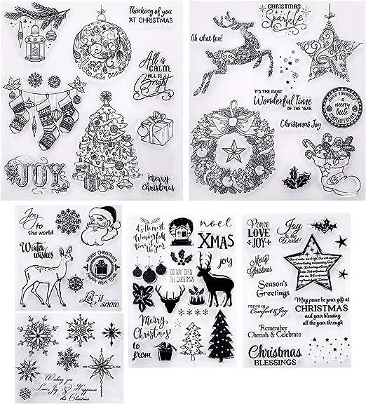 6 Hojas de Sellos de Navidad en Estilos Diferentes Sellos Transparentes con Patrones de Copo de Nieve Ciervo Árbol para Hacer Tarjetas y DIY Scrapbooking: Amazon.es: Hogar