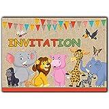 Animaux Lot de 10 cartes en francais d'invitation pour un Anniversaire Enfant fille garcon en francais jungle roi lion premier