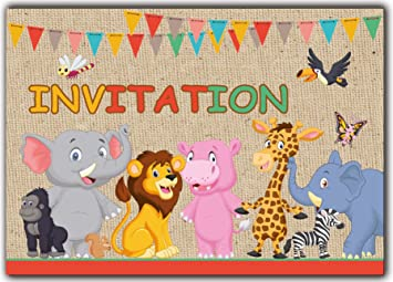 Animaux Lot De 10 Cartes En Francais D Invitation Pour Un