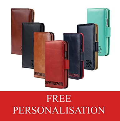 "new style f6613 e7d8a Ed Hicks Personalise your iPhone XS Case with Embossed Initials for that  Real Leather iPhone X Wallet Case - Card Holder - ""Double Shield"" ..."
