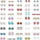 Finrezio 45 Pairs Hypoallergenic Stud Earrings for Women Kids Flower Animals Heart Rainbow Pearls Owl Rhinestone Colorful Cute Stainless Steel Earrings Set Jewelry