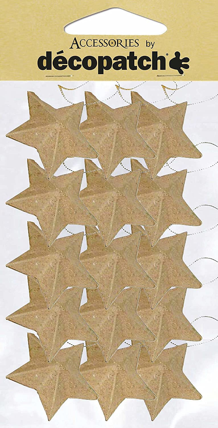 décopatch Mache Star Bauble to Hang, 2 x 4 x 4 cm, Brown, 15 Pack AC355O