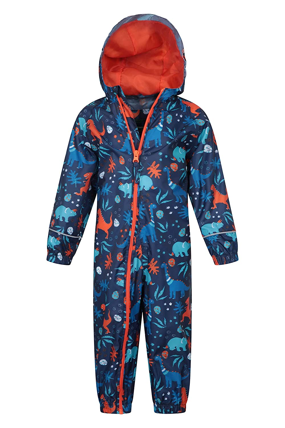 High Vis Suit Mountain Warehouse Puddle Kids Printed Rain Suit Waterproof Childrens Rain Coat Taped Seams Suit Breathable Waterproof Coat for Travelling Blue 6-12 Months