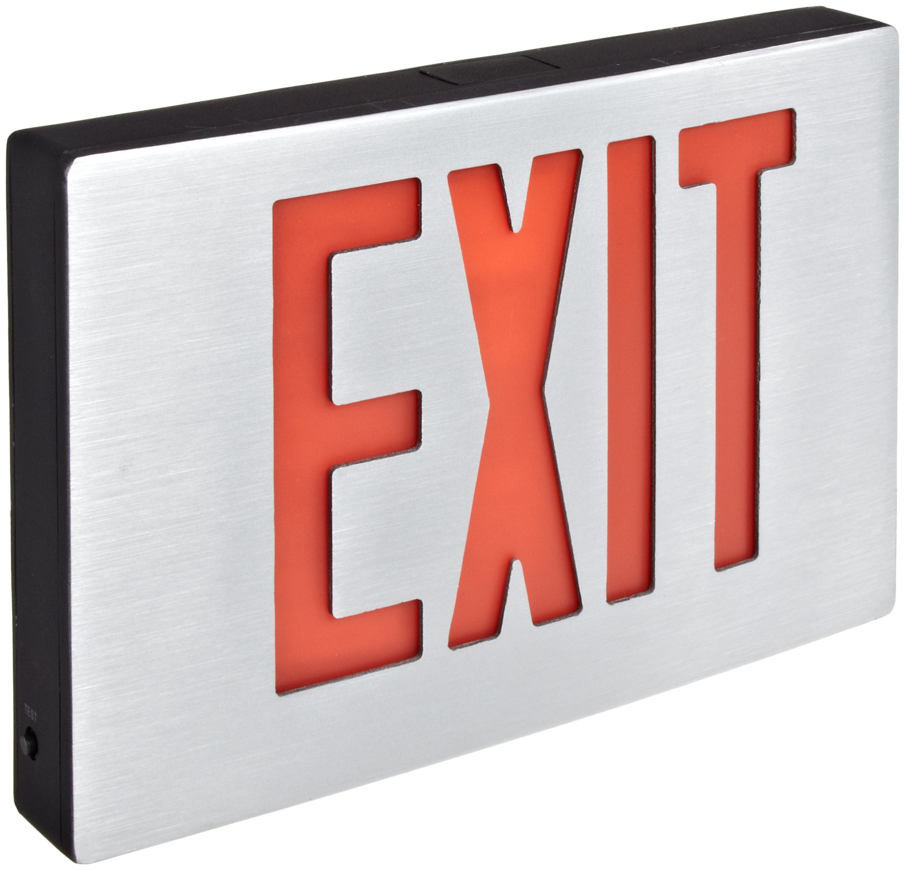 Morris Products 73343 Cast Aluminum LED Exit Sign, Red Letter Color, Brushed Aluminum Face Color, Black Housing Finish