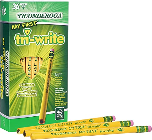 Pencil Shaped Erasers Set of 3 Yellow Ticonderoga Brand Fun for School Office Work Writing Drawing Artist Crafter Gift for Teachers Students