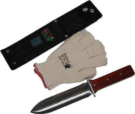Rebel jardín Samurai japonés Hori Hori herramienta de jardín cuchillo por Rebel con un jardín (funda de nailon), afilar y algodón guantes de jardinería): Amazon.es: Jardín