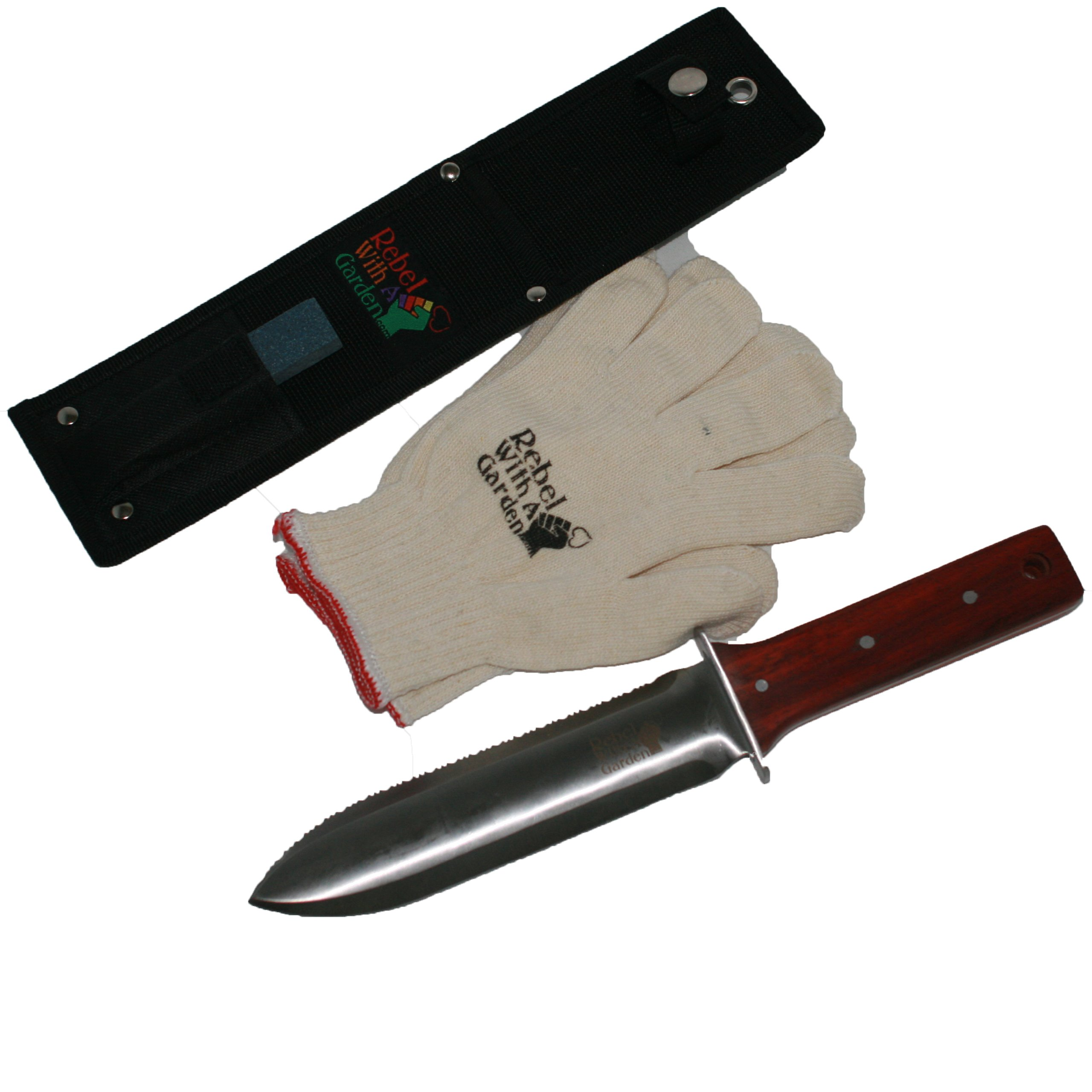 Rebel With A Garden Rebel Garden Samurai Japanese Hori Hori Garden Knife Tool by (Nylon Sheath, Whetstone and Cotton garden Gloves)