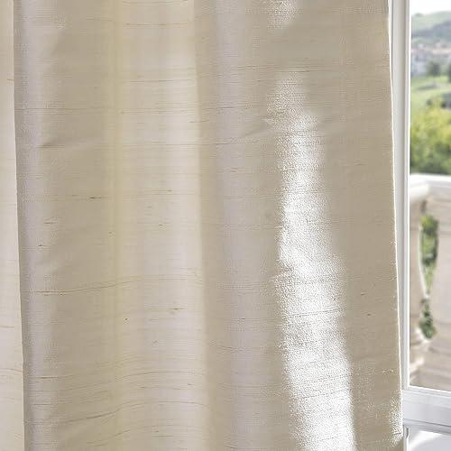 HPD Half Price Drapes DIS-ID7727-96 Textured Dupioni Silk Curtain 1 Panel , 50 X 96, Pearl