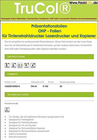 100 Blatt A4 OHP Folien für Kopierer und Laserdrucker Präsentationsfolien
