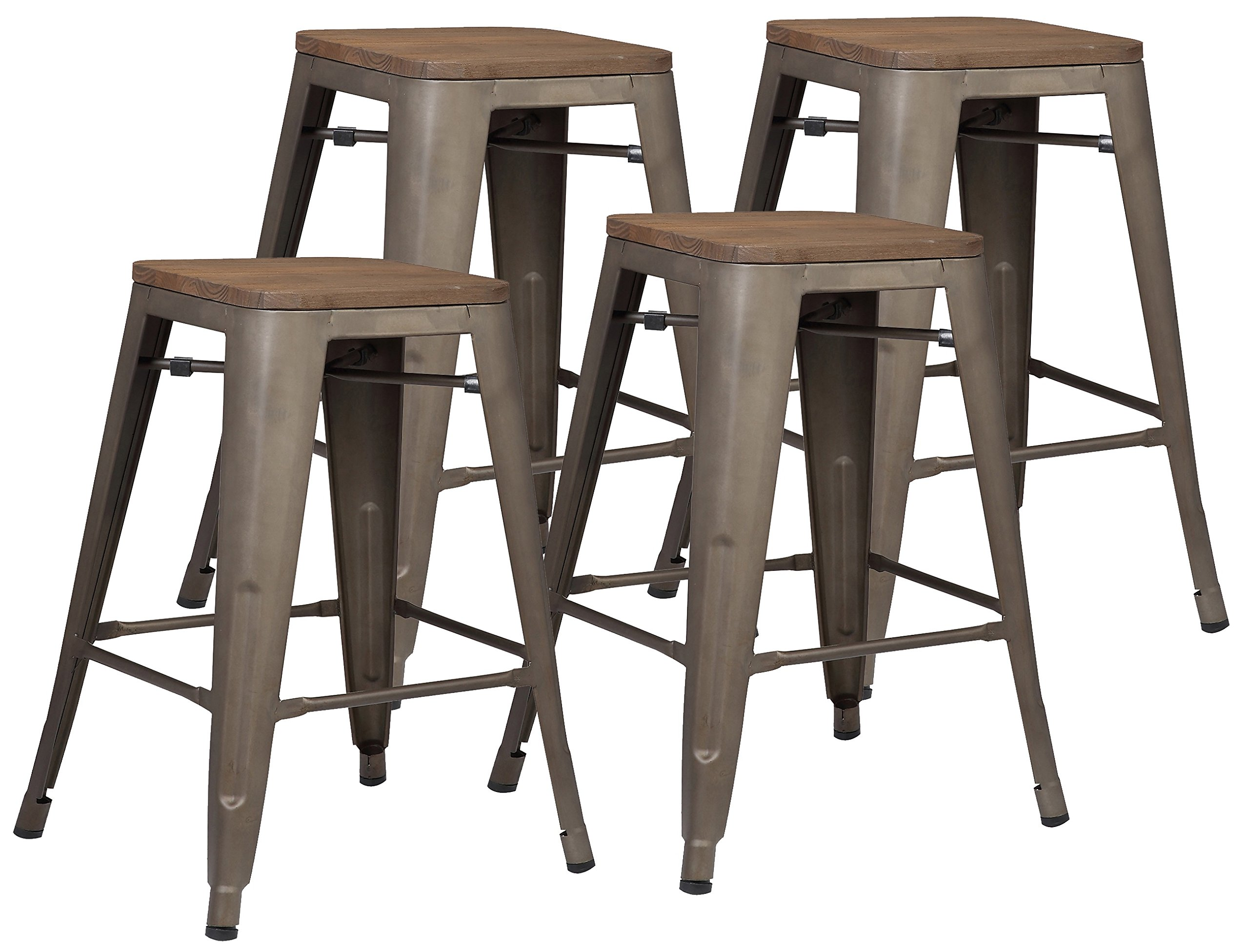 Poly and Bark Trattoria 24'' Counter Height Stool with Elmwood Seat in Bronze (Set of 4) by Poly and Bark
