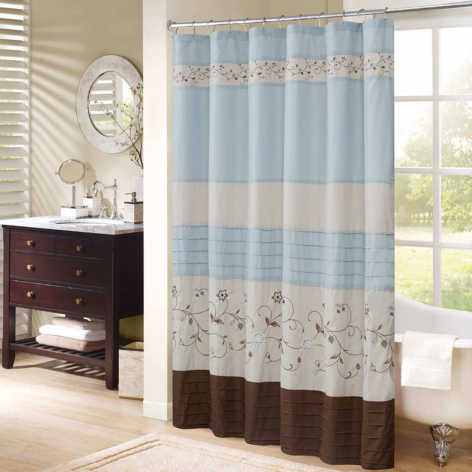 Comfort Spaces – Verene Shower Curtain – Blue & Brown – Panel Design and Floral Embroidery - 72x72 inches