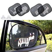 Biubee 4 Packs Car Window Sun Shade for Baby -19.7  x 15  with 2 Extra Suction Cups Safety Car Window Blinds and Sheild, Protect Baby & Infants from Sun, Glare and UV Rays