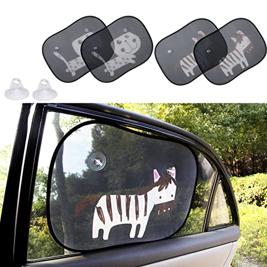 "Biubee 4 Packs Car Window Sun Shade for Baby -19.7"" x 15"" with 2 Extra Suction Cups Safety Car Window Blinds and Sheild, Protect Baby & Infants from Sun, Glare and UV Rays"