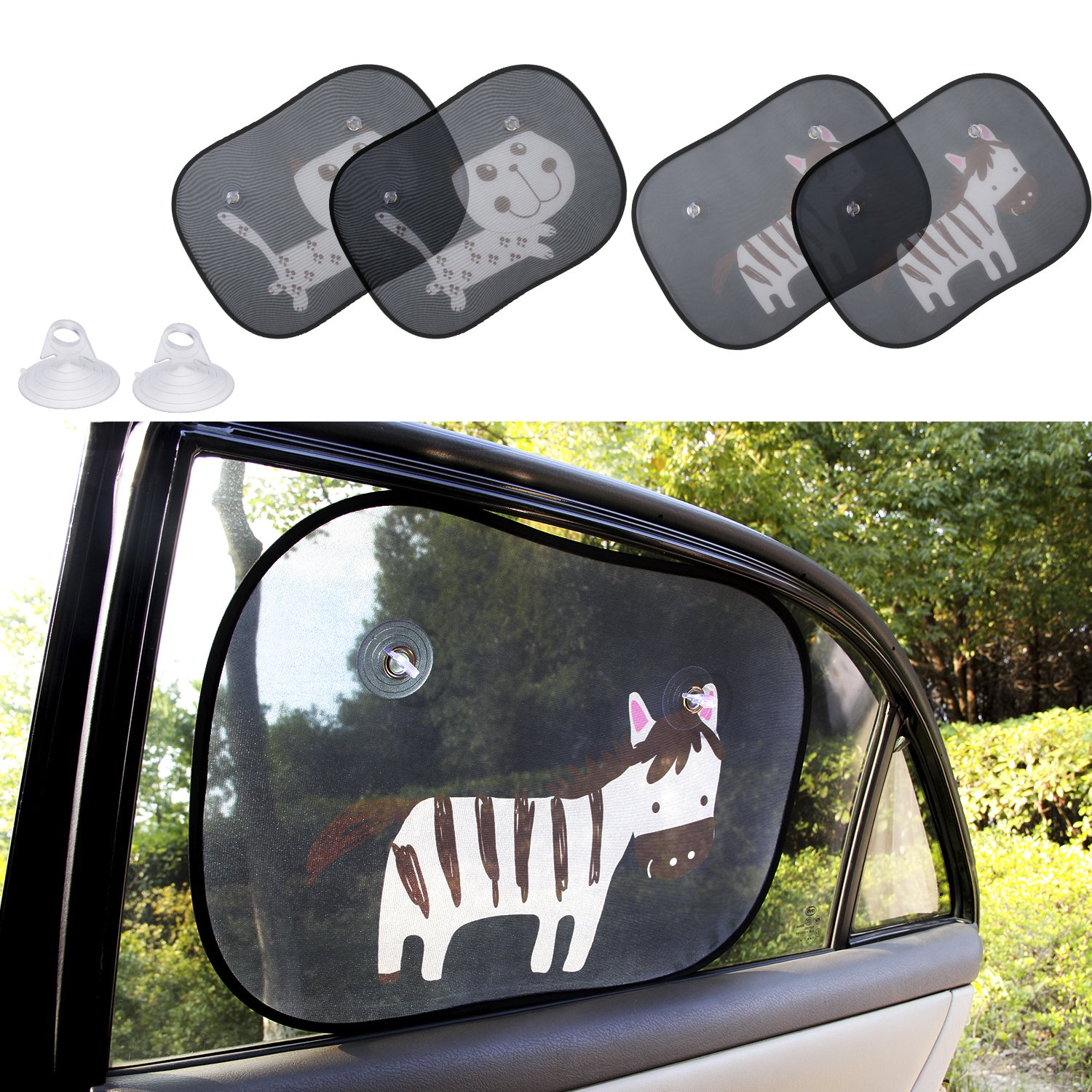 Biubee 4 Packs Car Window Sun Shade for Baby -19.7'' x 15'' with 2 Extra Suction Cups Safety Car Window Blinds and Sheild, Protect Baby & Infants from Sun, Glare And UV Rays