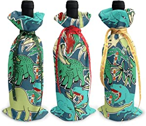 Christmas Wine Bottle Decoration Bag For New Year Wedding Wine Tasting Party Dinner Decor Holiday Ornaments 3pcs Wine Bottle Cover Bags,Xmas Gift Cute Dinosaurs Green Teal