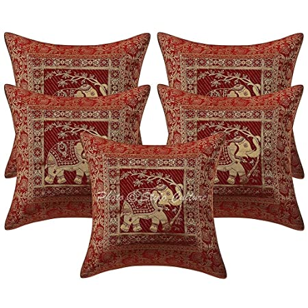 100% high quality amazing price stable quality Stylo Culture Cotton Brocade Self Design Maroon 16x16 Ethnic Cushion Cover  Decorative Elephant Square Set Of 5