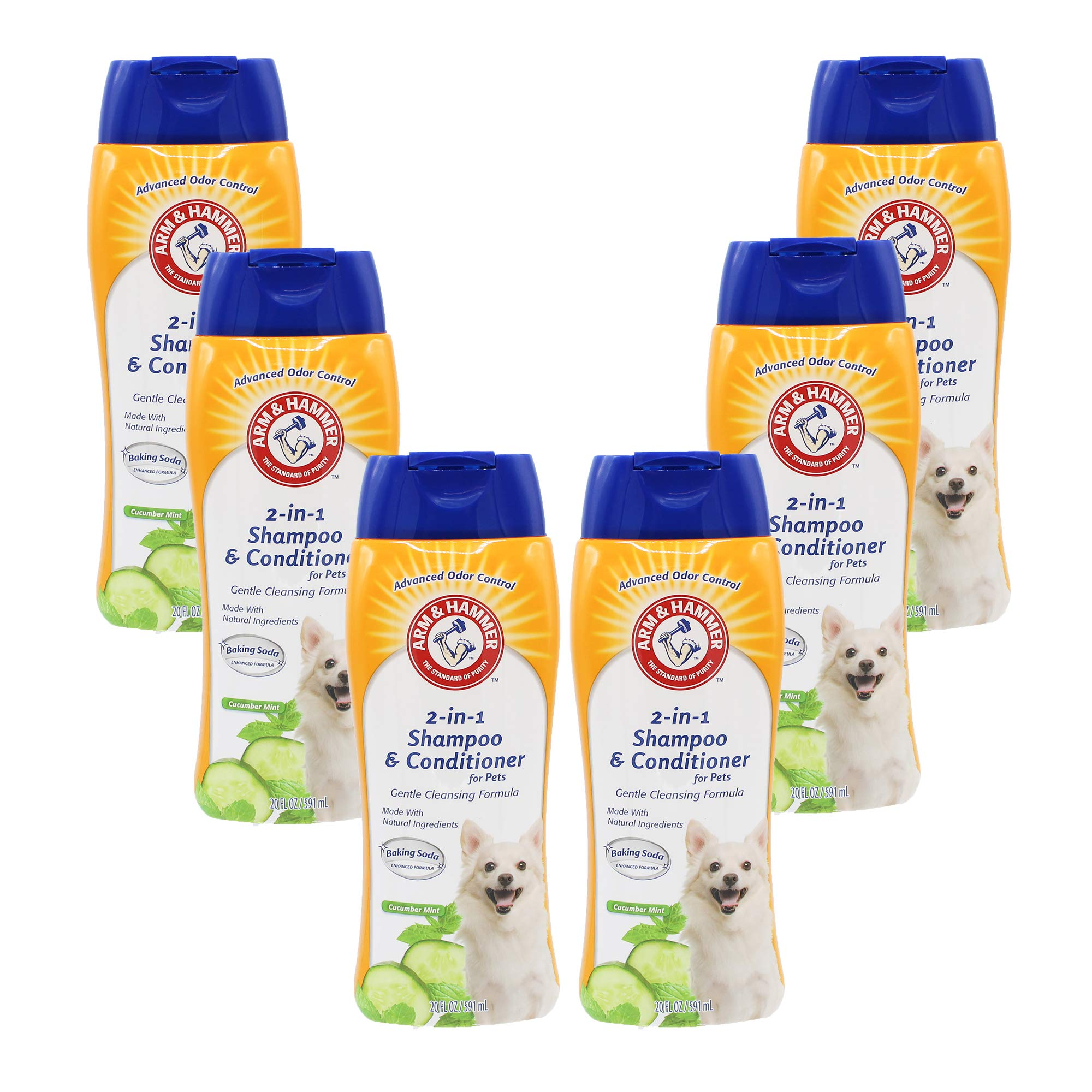 ARM & HAMMER 2-in-1 Shampoo & Conditioner for Dogs | Dog Shampoo & Conditioner in One | Cucumber Mint, 20 Ounces - 6 Pack by ARM & HAMMER
