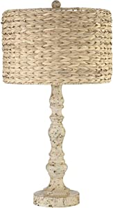 Jackson Country Cottage Coastal Table Lamp Rustic Distressed Antique White Candlestick Rattan Drum Shade for Living Room Bedroom House Bedside Nightstand Home Office Family - John Timberland