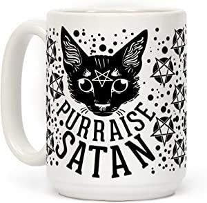 LookHUMAN Purraise Satan White 15 Ounce Ceramic Coffee Mug