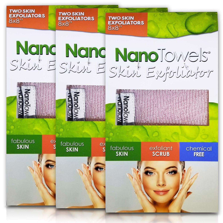 Nano Towels Skin Exfoliating Cleanser | Personal Microdermabrasion Face Wash, Pore Toner & Body Scrub Cloth | Chemical Free Dead Skin and Blackhead Remover. Korean Skin Care Secret | 6 Exfoliators