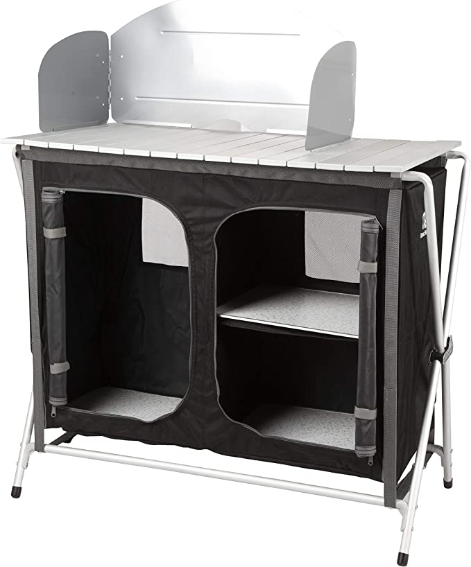 KG KITGARDEN - Armario Camping con Paraviento, 88x47x80 cm, Negro, Cabinet BBQ