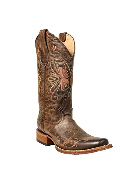 2cfe46a25ac Corral Circle G Women's Shedron Embroidery Square Toe Pull-On Distressed  Leather Western Boots - Sizes 5-12 B