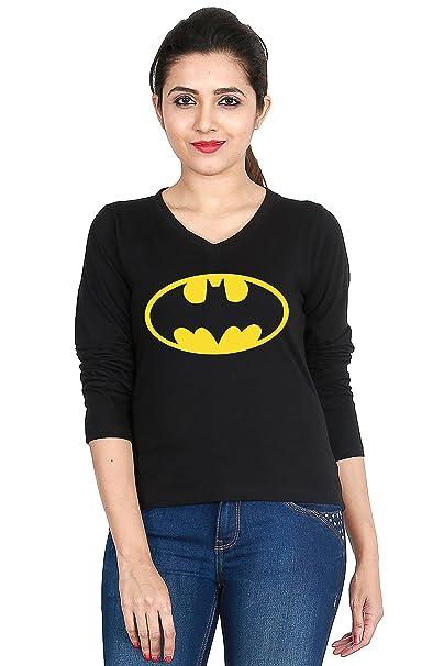 1d4101a0a Adalicia Women's Batman Logo Printed Cotton Full Sleeve Casual Wear Stylish  Top (X-Small