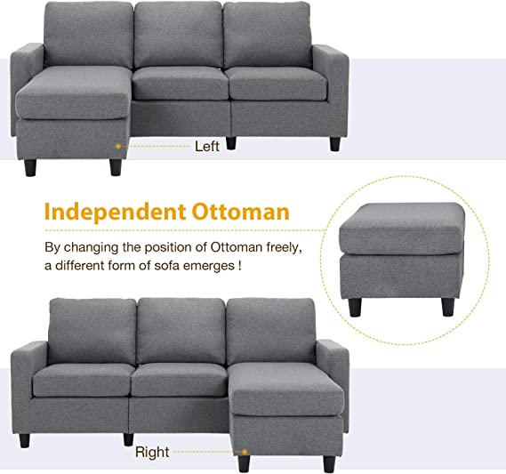 HONBAY Sectional Sofa Set with Ottoman L-Shaped Sofa with Storage Ottoman Sectionals Sofa Chaise Bed Beige