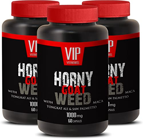 Horny Goat Weed with Maca 1000mg with Mucuna Pruriens, Muira Puama, Panax Ginseng Root and Tongkat Ali Powder for Stamina 3 Bottle 180 Capsules