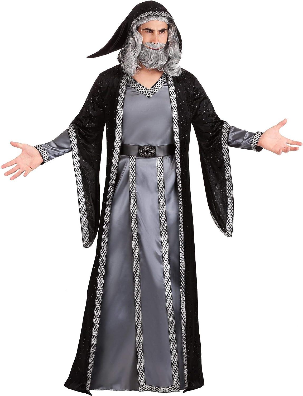 CISSTEC Adult Mens Dark Mystic Sorcerer Robe Halloween Cosplay Costume with Hooded Cape
