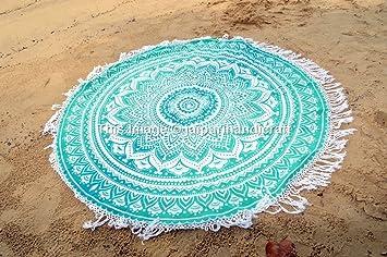 Toalla de playa redonda, estilo hippie, con flecos, estampada: Amazon.es: Hogar