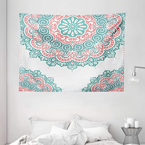 Ambesonne Oriental Tapestry, Soft Colored Mandala South Culture Inspired Floral Image, Wide Wall Hanging for Bedroom Living Room Dorm, 80 X 60 , Turquoise Coral