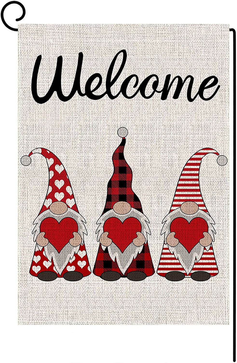 Welcome Valentines Day Garden Flag Vertical Double Sided Buffalo Plaid Gnome Love Heart Spring Garden Flag, Valentine's Day Holiday Anniversary Wedding Yard Outdoor Decoration 12.5 x 18 Inch