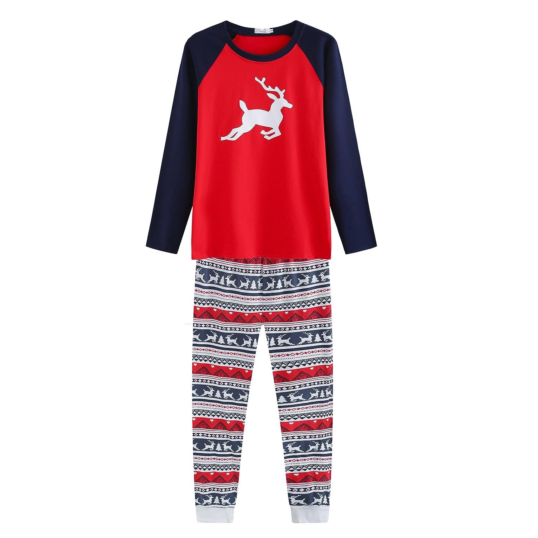 Hailouhai Familie Weihnachten passenden Neugeborenen Baby Kinder Mama Papa Langarm Pyjamas Red Nachtw/äsche Nachtw/äsche Homewear Set