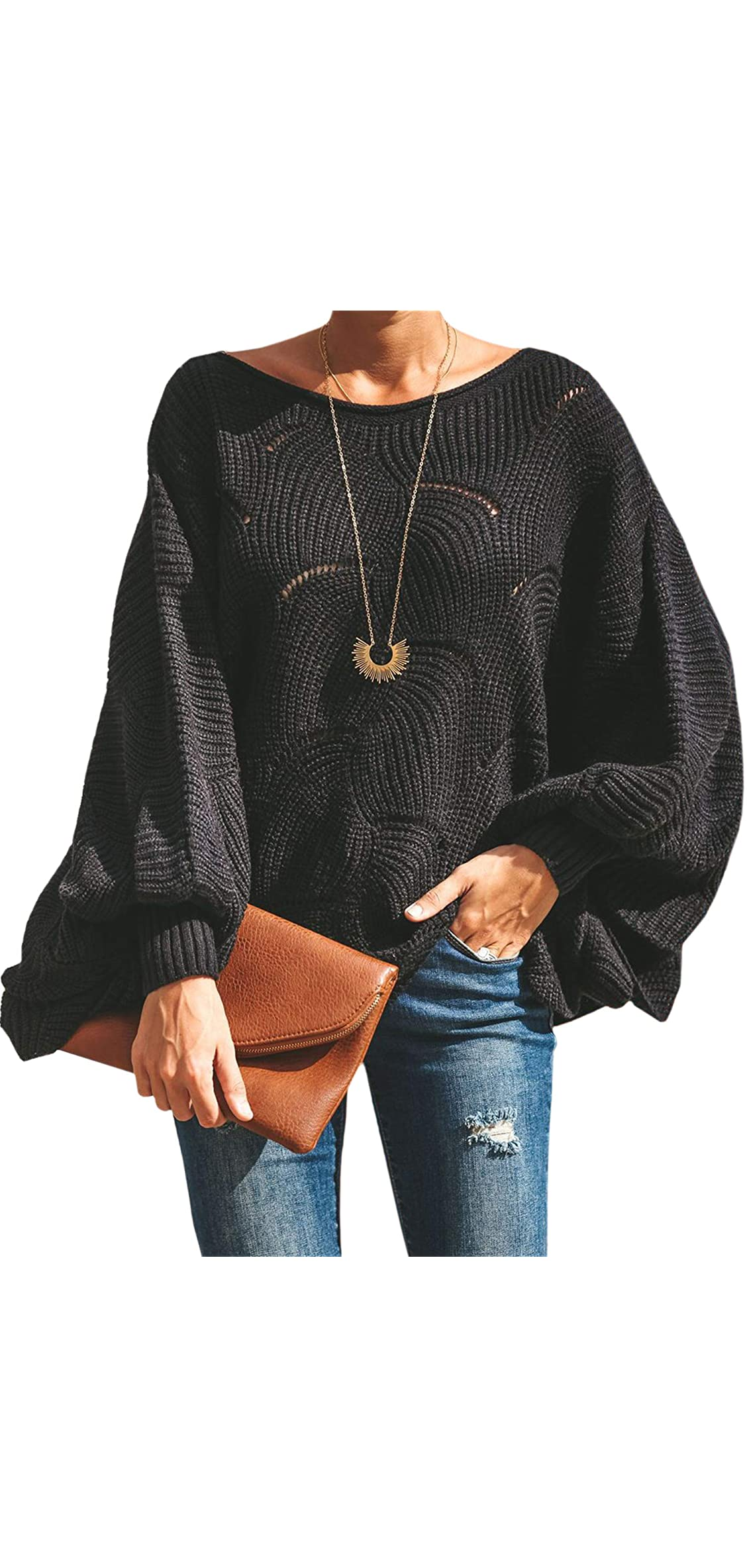 Women Sweater Oversized Lantern Sleeve Jumper Irregular