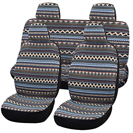 boxi5 Universal Bohemia Style Delux Baja Blanket Car Seat Covers Full Sets,5 Seats