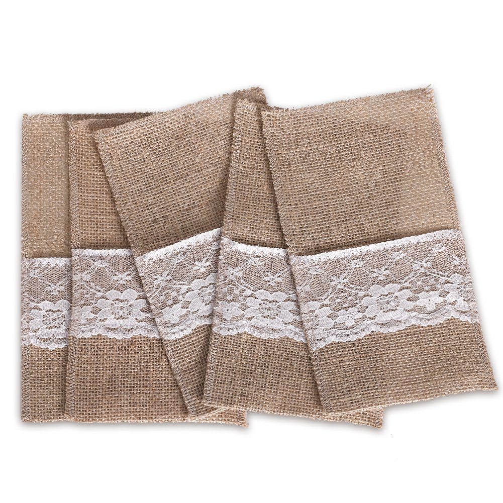 Ling's moment 100 Pack 4 x 8 Inch Natural Burlap Silverware Napkin Holders Cutlery Holders Pouch for Vintage Wedding Decorations Party Bridal Shower Table Setting Decorations