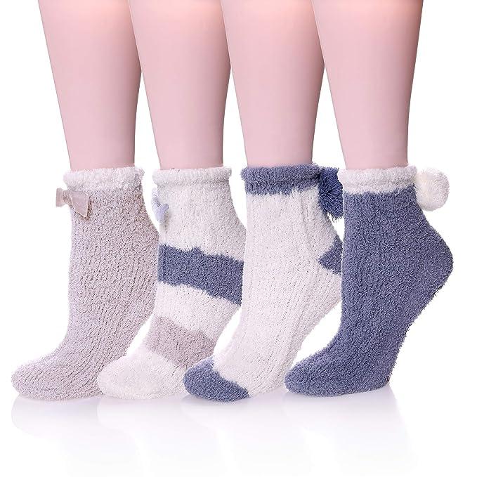 7c17fee1f2b KAKAYAO 4 Pairs Womens Fuzzy Slipper Socks Soft Fluffy Cute Warm Anti-Slip  Socks For