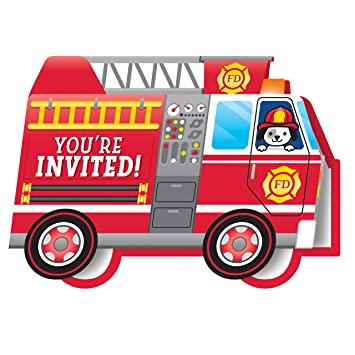 Amazon Com Flaming Fire Truck Invitations 8 Count Health