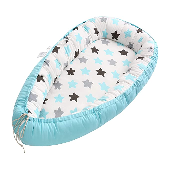Amazon.com: Baby Lounger, Baby Nest and Baby Bassinet, Portable Ultra Soft Breathable Newborn Lounger Crib, Perfect for Co-Sleeping and Traveling (Blue Star): Baby