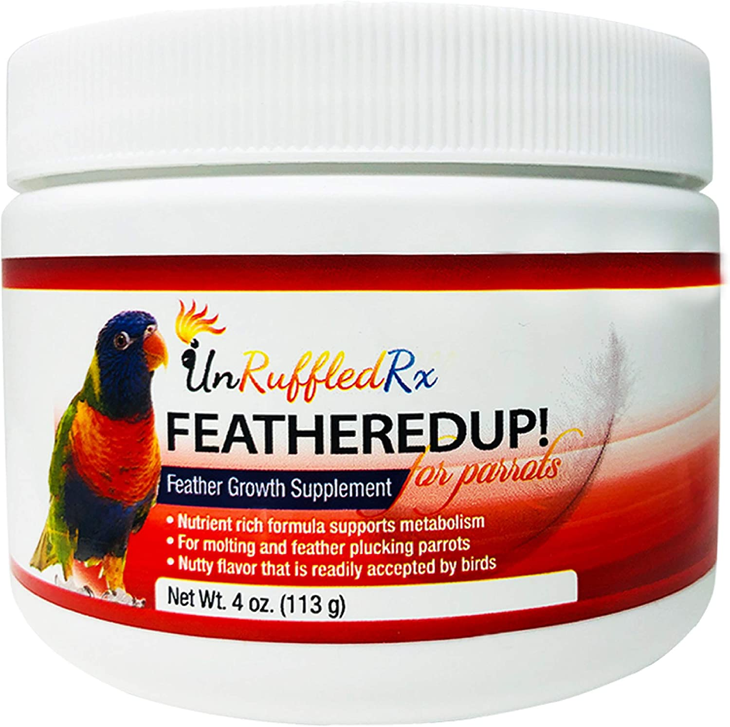 UnRuffledRx Bird Feather Growth Supplement FeatheredUp! Feather Growth Formula for Parrots. Helps Stressed Caged Pets Regrow Feathers Fast (4 oz.113 Grams)