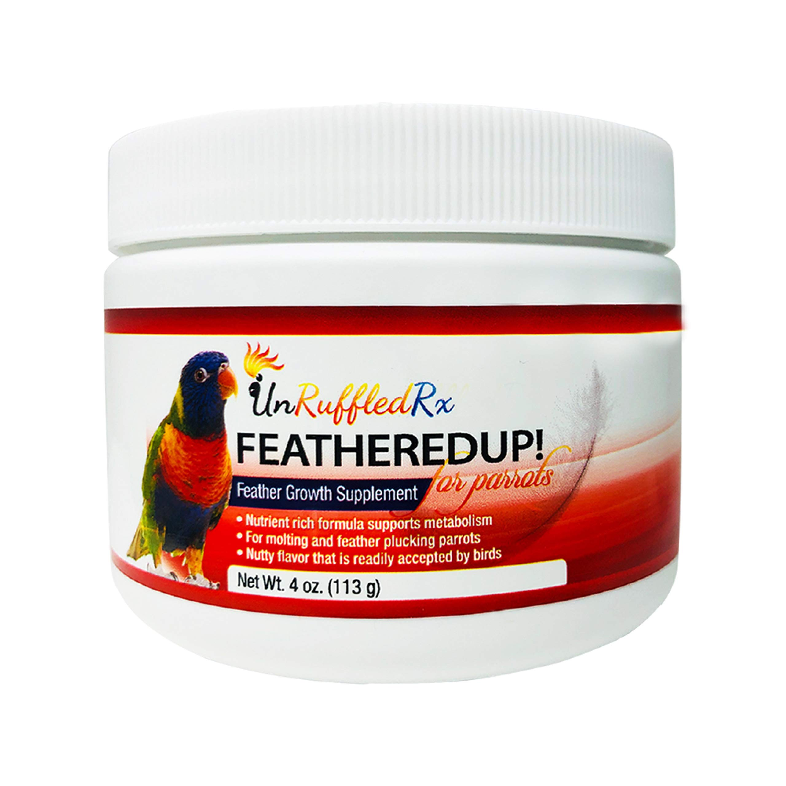 UnRuffledRx Bird Feather Growth Supplement FeatheredUp! Feather Growth Formula for Parrots. Helps Stressed Caged Pets Regrow Feathers Fast (4 oz.113 Grams) by UnRuffledRx
