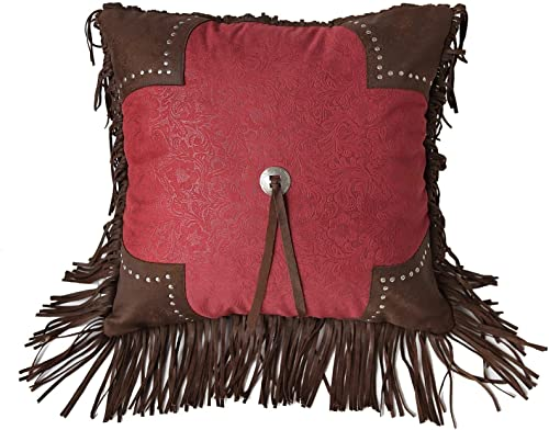 HiEnd Accents Cheyenne Faux Leather Scalloped Throw Pillow, 1 6 x 1 6