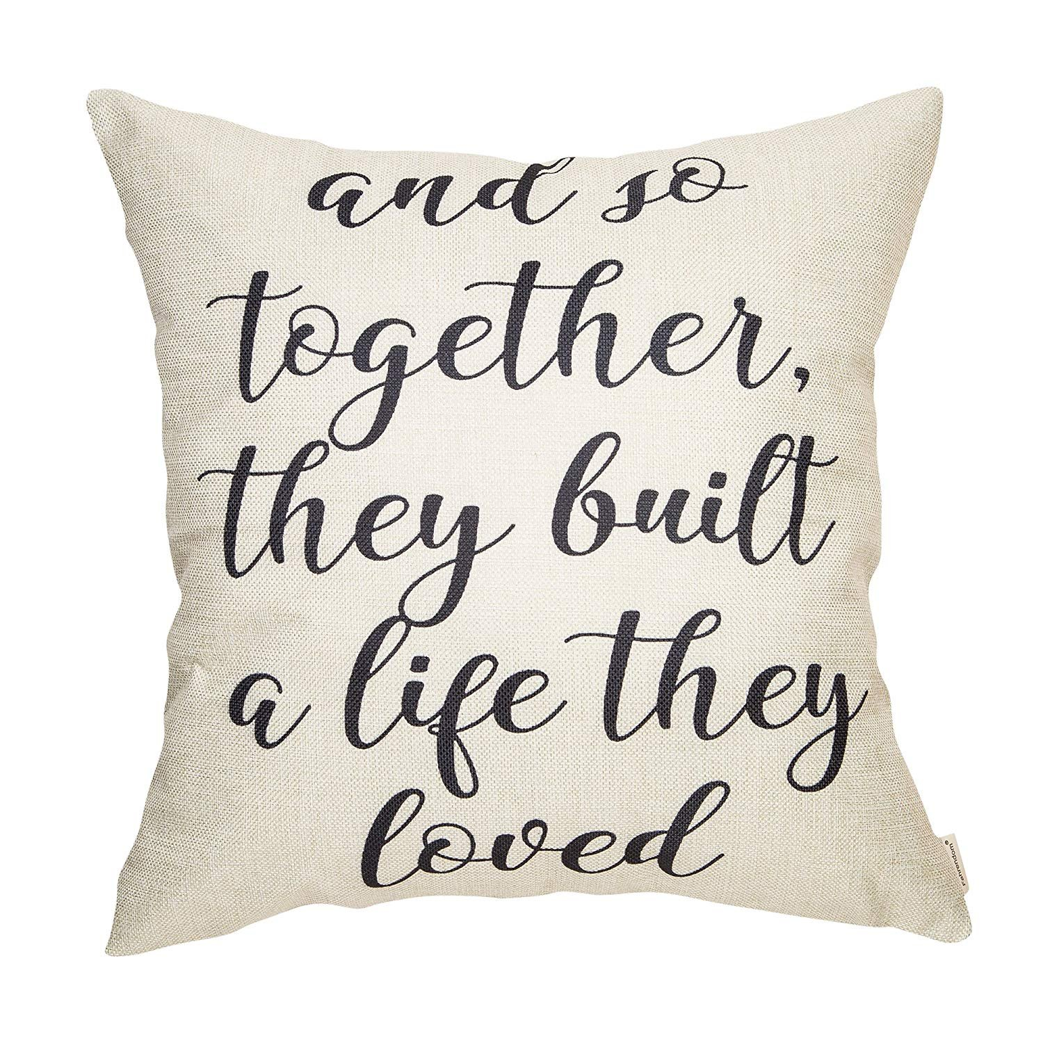 So Together They Built a Life They Loved Farmhouse Style Sign Cotton Linen Home Decorative Throw Pillow Case Cushion Cover Words Sofa Couch, 18 x 18 in NDJHEH