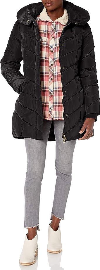 Steve Madden Womens Long Chevron Quilted Outerwear Jacket