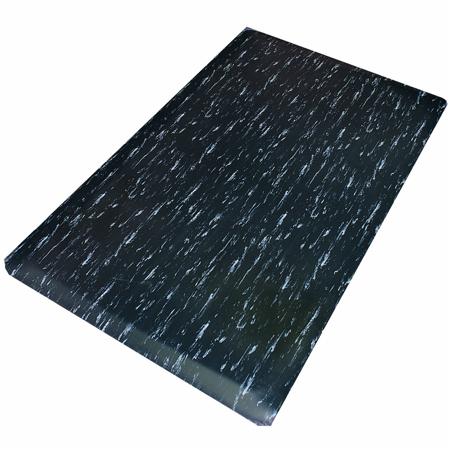 Rhino Mats TT-2436BWRNS Marbleized Tile Top Anti-Fatigue Mat with Rhi-No-Slip, 2' Width x 3' Length x 1/2'' Thickness, Black/White