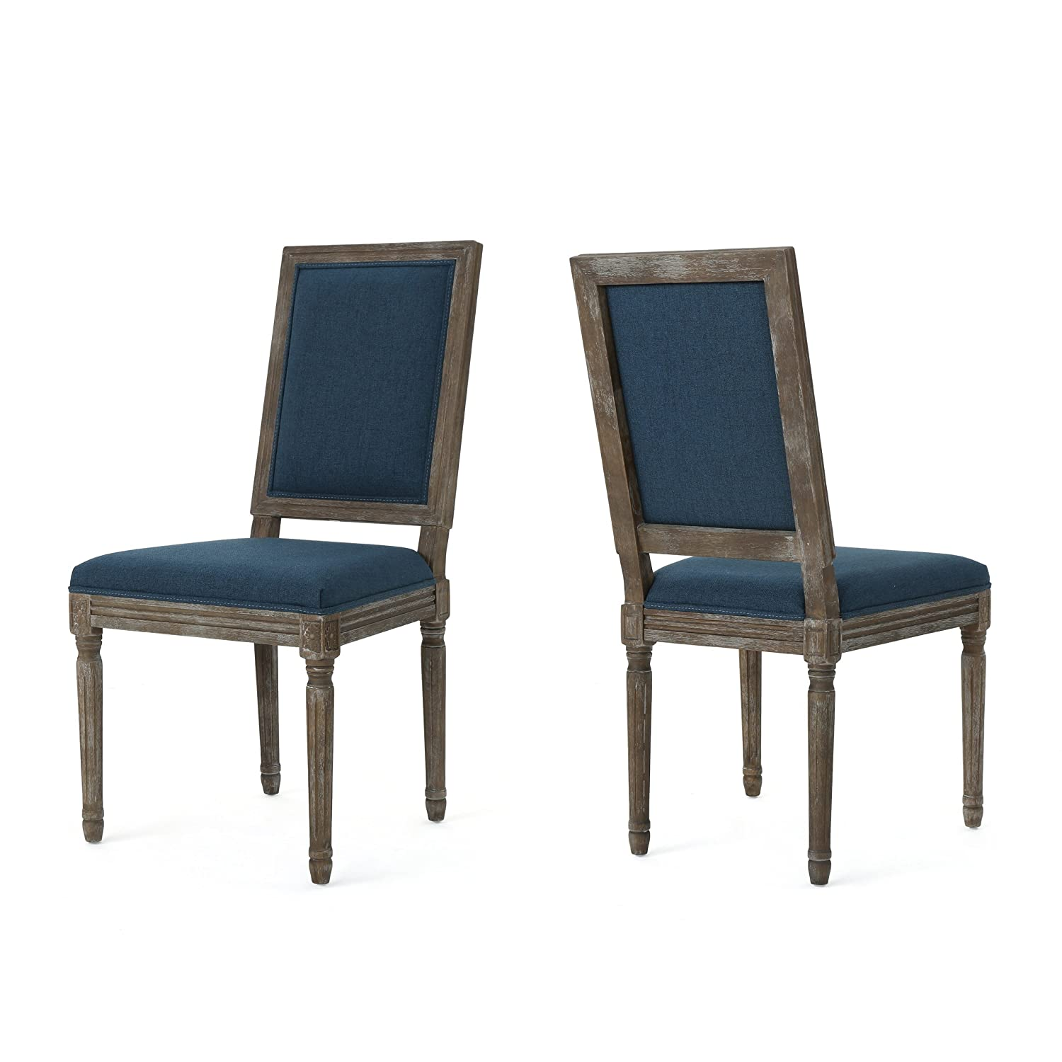 Christopher Knight Home Margaret Traditional Fabric Dining Chairs (Set of 2), Navy Blue/Dark Brown