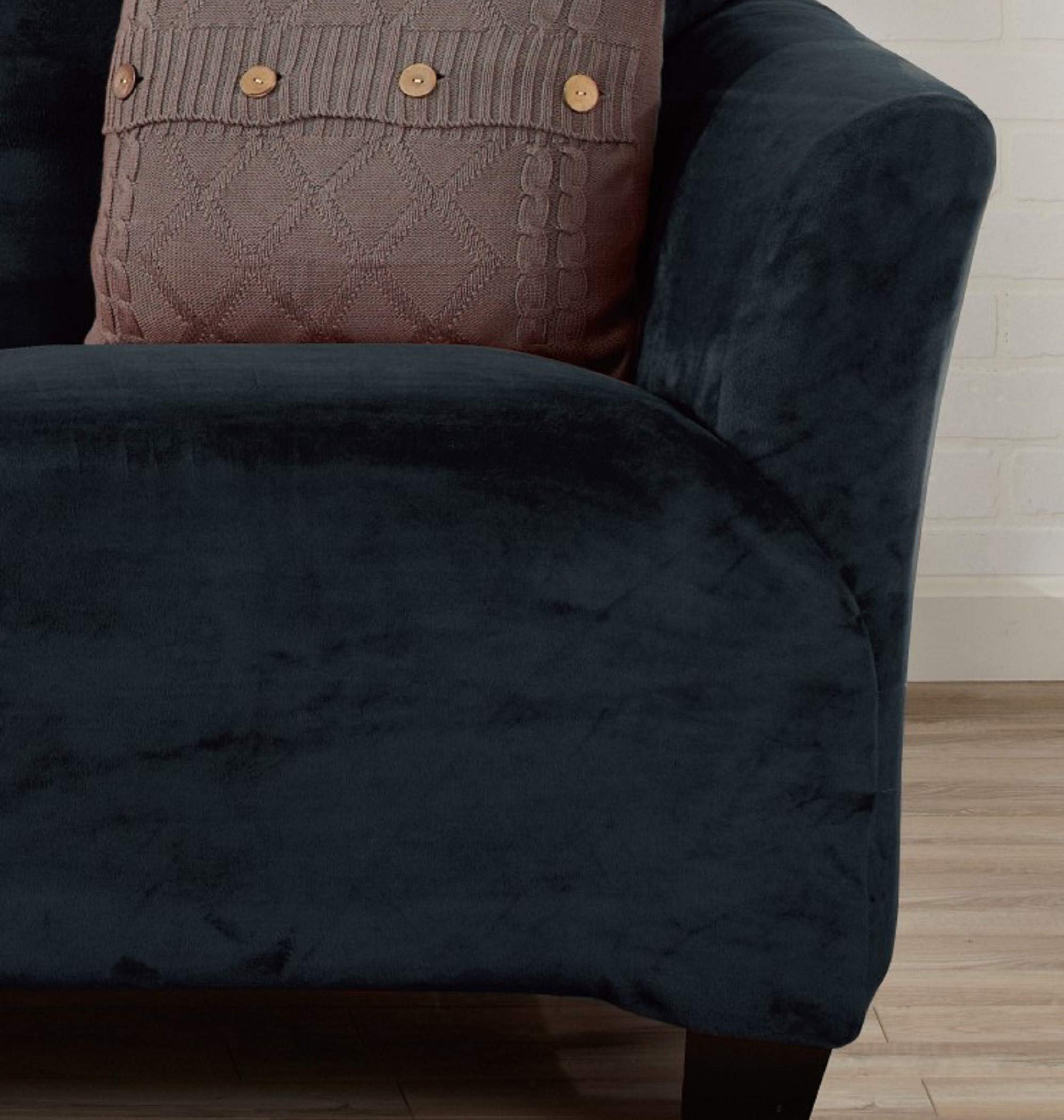 Great Bay Home Form Fit, Slip Resistant, Stylish Furniture Shield/Protector Featuring Velvet Plush Fabric. Gale Collection Strapless Slipcover Brand.
