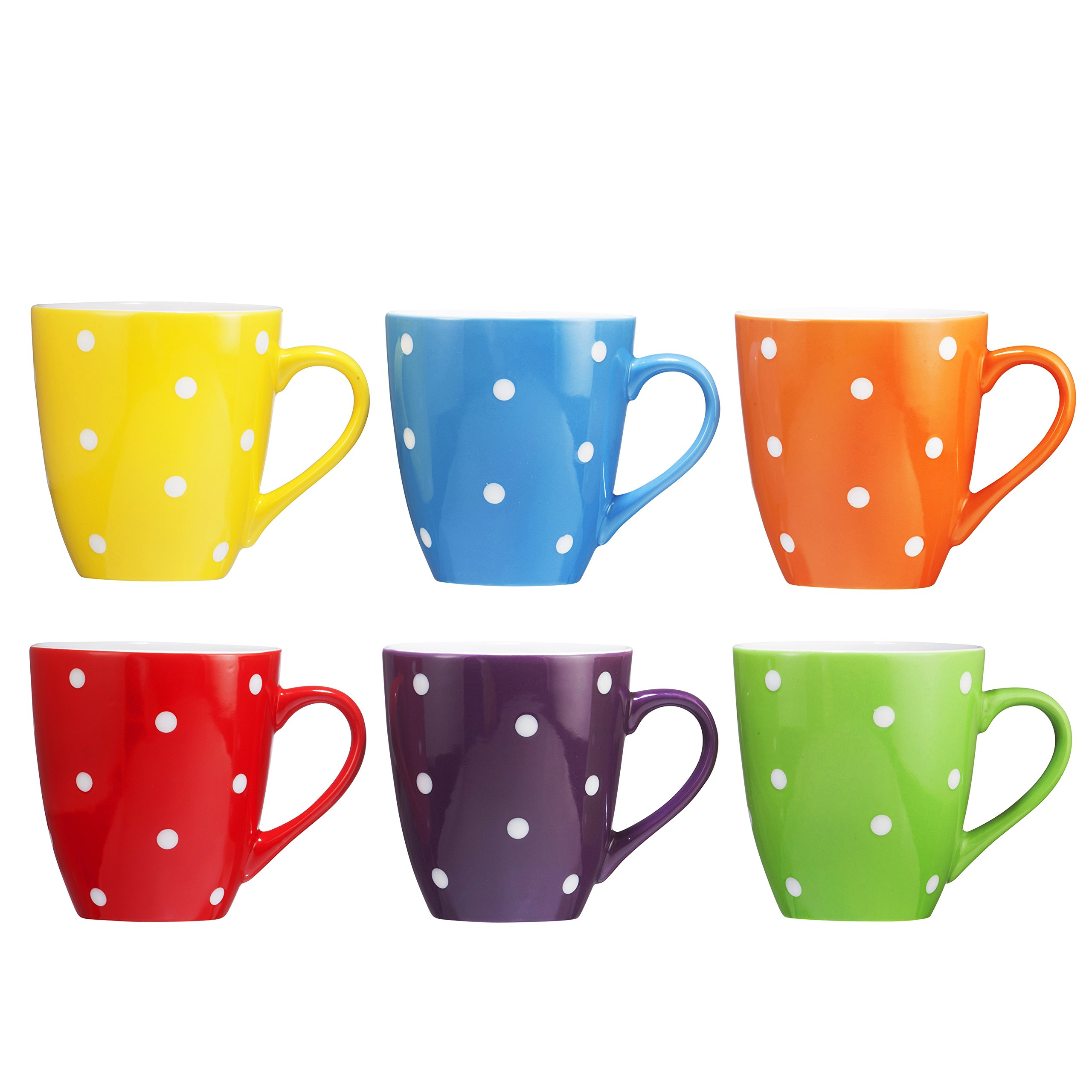 Coffee Mug Set Set of 6 Large-sized 16 Ounce Ceramic Coffee Mugs Restaurant Coffee Mugs By Bruntmor (Polka Dot) by Bruntmor (Image #3)