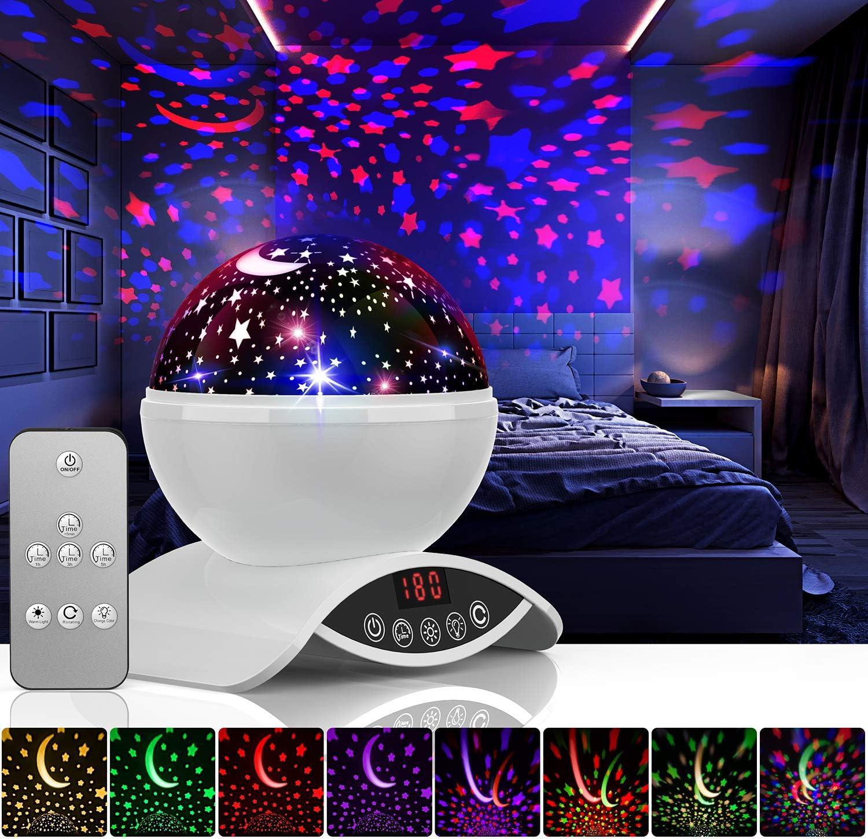 B/éb/é Etoile Lampe de Chevet dAmbiance 360/° Rotation Romantique avec LED Minuterie Auto Shut-Off pour Cadeau Fille Fils Anniversaire Soir/ée No/ël Amouhom Veilleuse Enfant Lampe de Projection